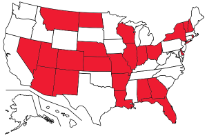 States (colored in red) in which Stop and Identify statutes are in effect as of February 20, 2013.