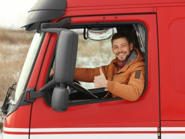 truck driver in red truck